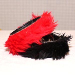 Set of red and black faux fur bracelets